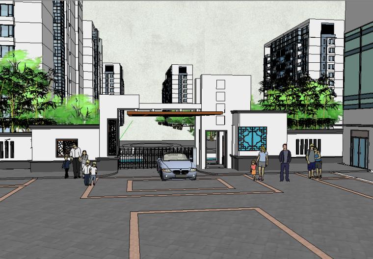 新中式风格大门围墙建筑模型设计