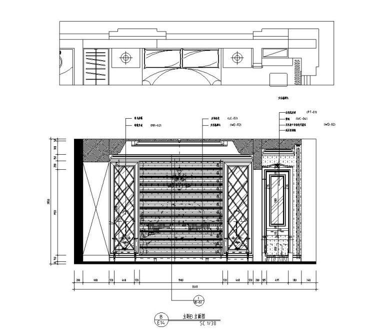 新古典样板房施工图设计(带效果)-主卧立面图
