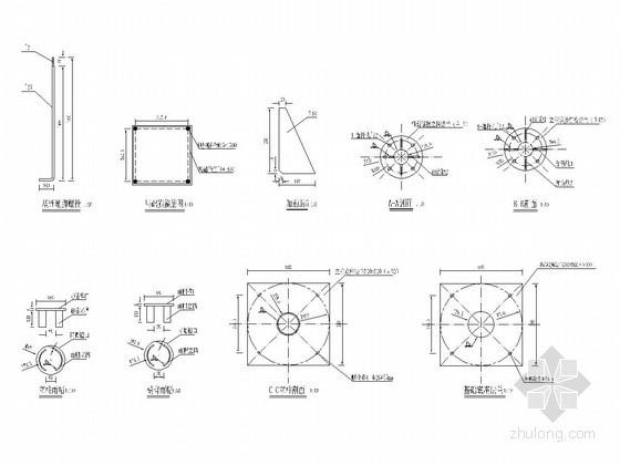 φ159标志杆单悬臂(L杆)结构设计图