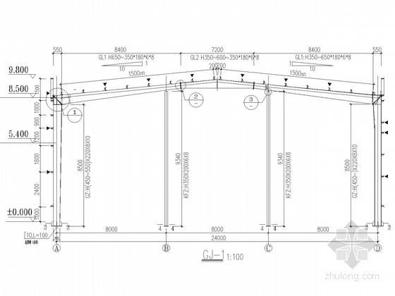 24米跨门式刚架茶叶加工厂房结构施工图