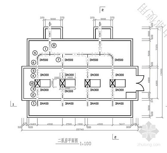 V型活性炭滤池全套施工图资料下载-2万吨净水厂泵房施工图