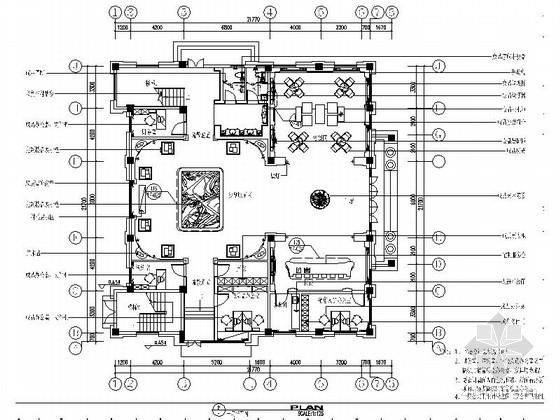 [浙江]原创设计法式新古典风格售楼处CAD装修施工图(含软装方案图)