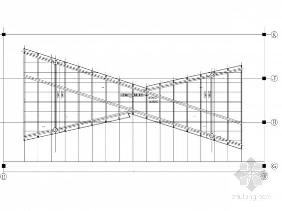 空间交叉钢框架连廊结构施工图