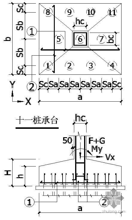 某十一桩承台节点构造详图