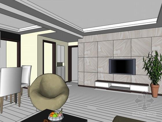 整体空间室内场景sketchup模型下载