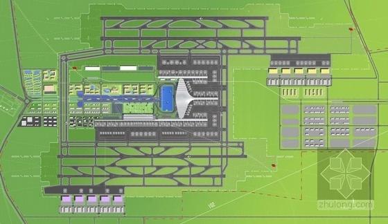 [河南]单个一体化屋顶枢纽机场建筑设计方案文本-单个一体化屋顶枢纽机场建筑总平面图