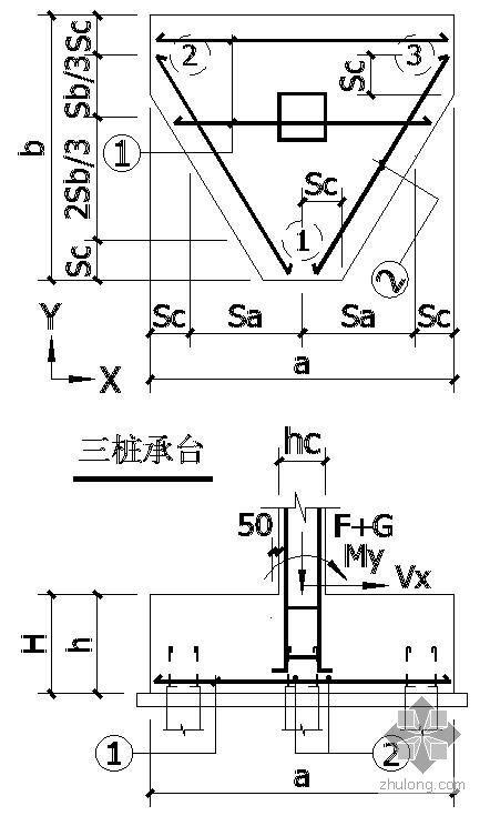 某三桩承台节点构造详图