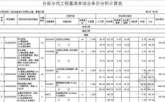 [福建]2013政府机关办公楼建筑工程量清单预算及招标文件(综合单价分析)