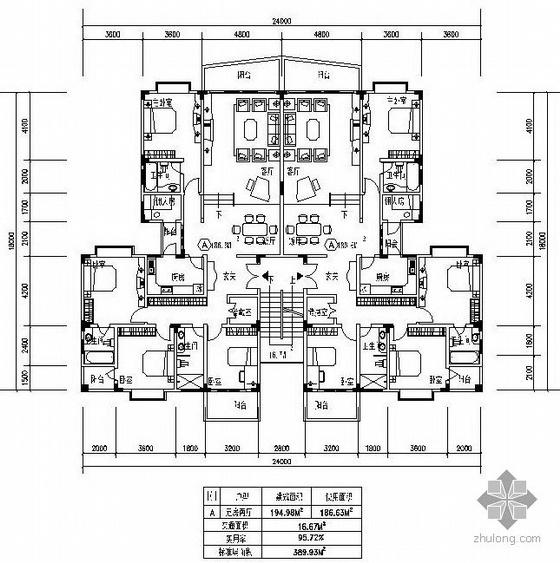 板式多层一梯二户五室二厅户型图