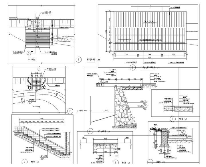 [武汉]高档居住区附属滨湖公园景观工程施工图-木平台详图