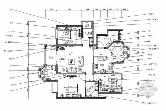 美式乡村田园风格三居室装修图(含效果)