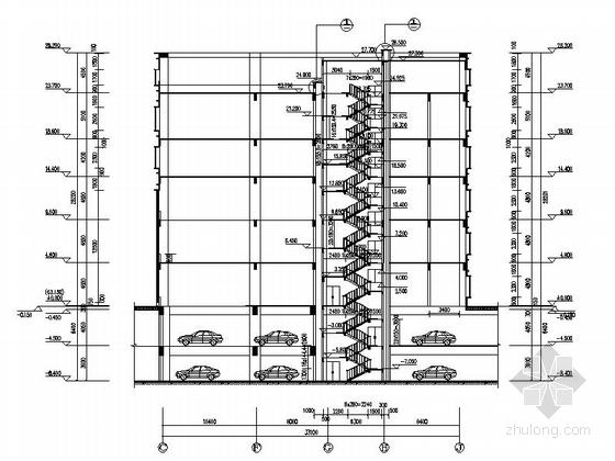 现代风格高层办公楼建筑剖面图