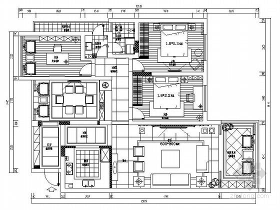[广西]新中式风格三居室室内装修设计施工图(含效果)