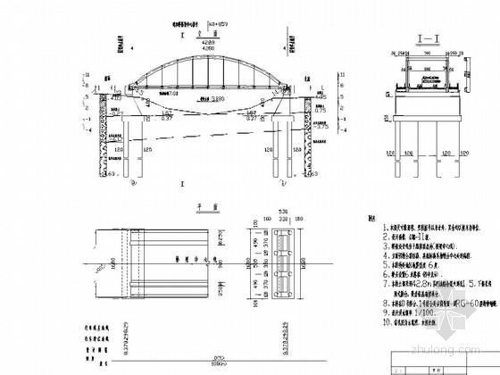 42.8m细钢系杆拱桥施工图34张(肋式桥台 嵌岩桩)