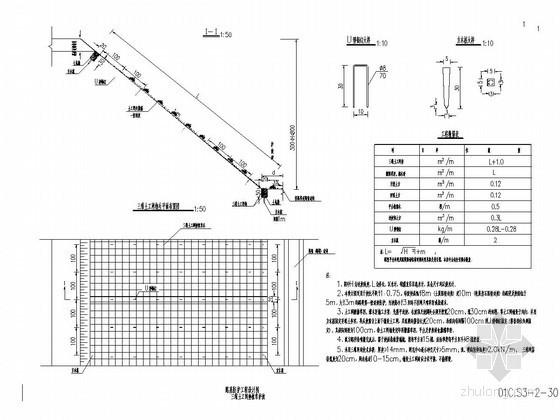 三维土工网垫植草护坡设计图