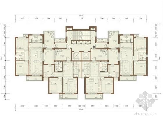 [沈阳]某高层住宅一梯四户型平面图(91、94平方米)