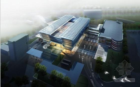 [深圳]高层简练立方体造型沿海口岸旅检大楼建筑设计方案文本
