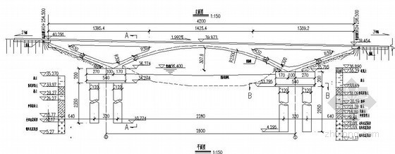 V型刚构图纸资料下载-广州市某市政道路及配套工程24米刚构拱桥设计图