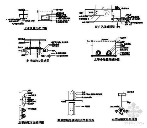 某职工宿舍楼空调工程风机管道安装详图