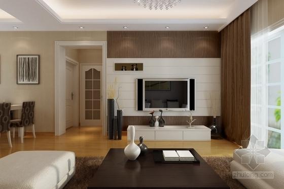 [无锡]文明社区简约现代两室两厅设计装修图(含效果)客厅效果图
