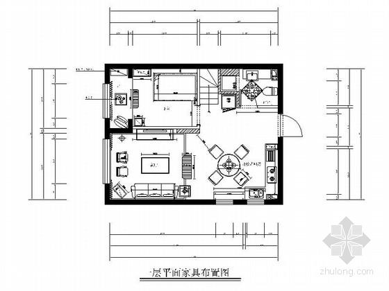 [内蒙古]田园法式乡村小型LOFT家装CAD施工图(含实景照片)