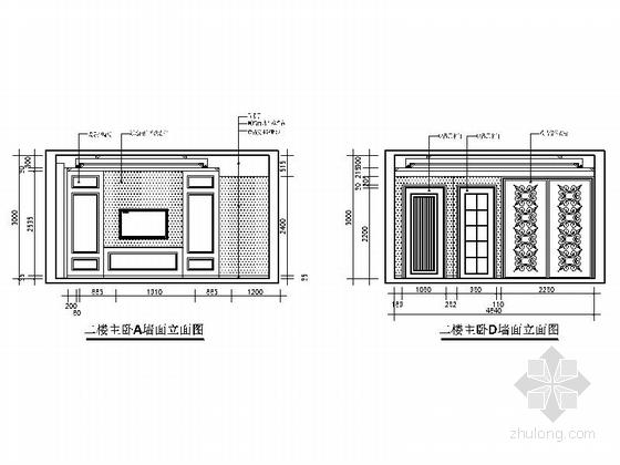 [上饶]商业中心区新中式四层别墅装修施工图主卧立面图
