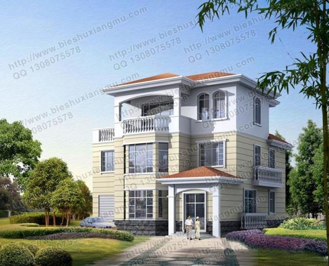 新农村三层多功能独栋别墅施工设计效果图