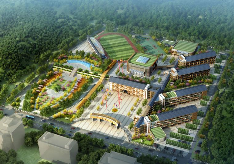 [贵州]18班新中式风格小学校园总规划及单体教育建筑设计方案文本