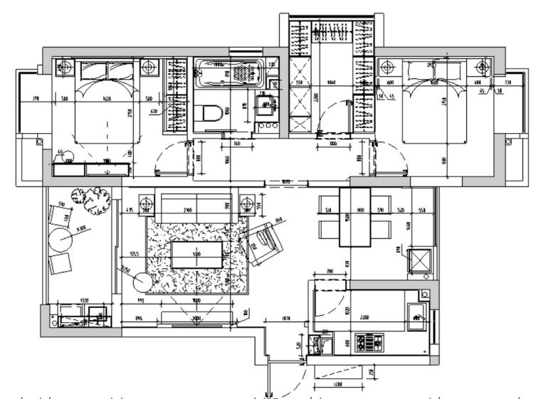 [杭州]白马山庄两居室住宅设计施工图及效果图