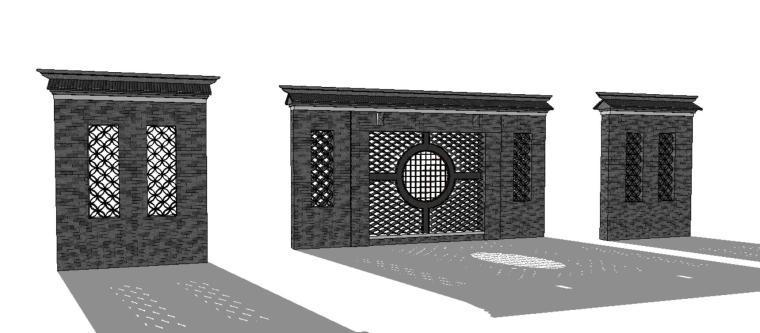 中式特色景墙照壁su模型设计-景墙照壁2 (3)3