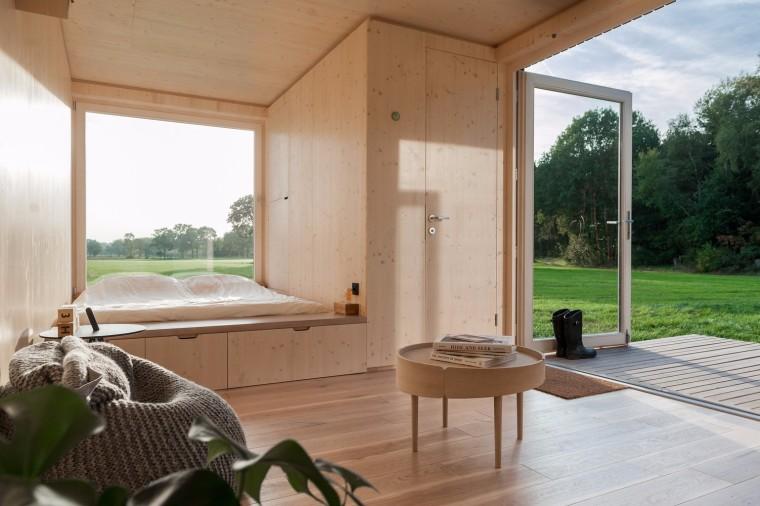 比利时能移动的生态小木屋内部实景图 (3)