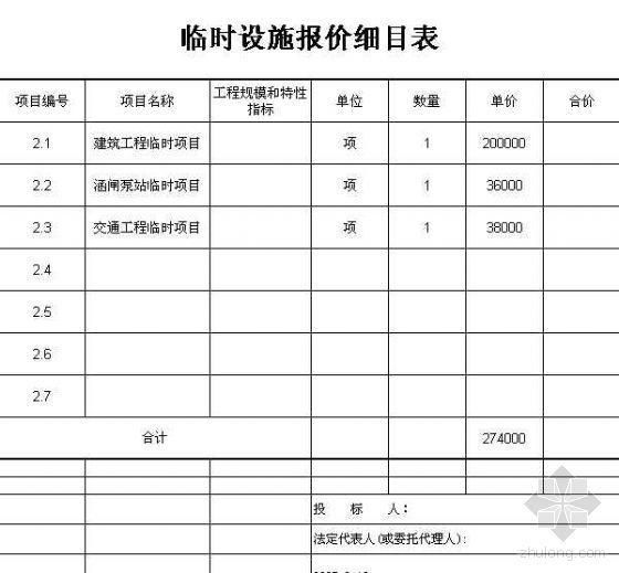 安江防洪堤工程某标段预算书(水利工程)