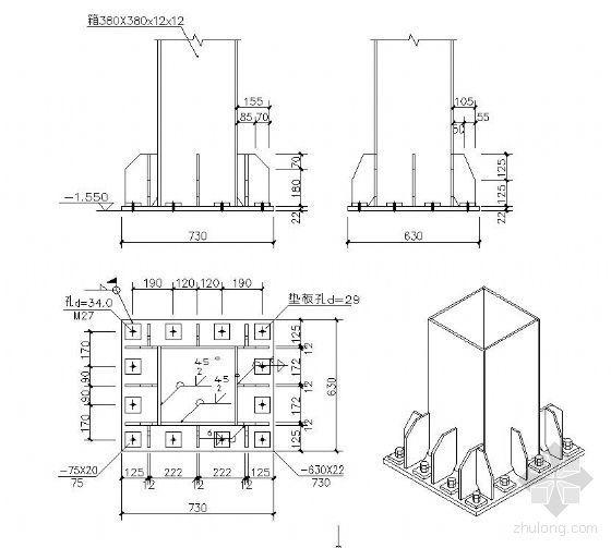 钢结构柱脚节点详图