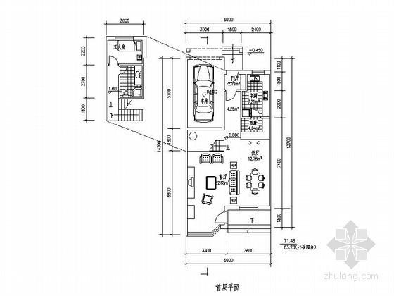 某三层带车库联排别墅平面图(北入口、205平方米)