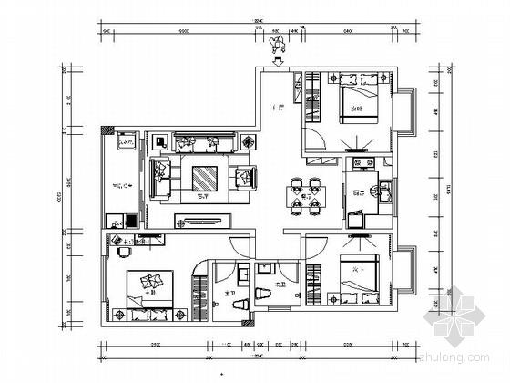 现代高档三居室样板间装修施工图