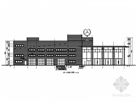 [河南]两层奔驰汽车4S店建筑施工图(甲级设计院)-两层奔驰汽车4S店建筑立面图