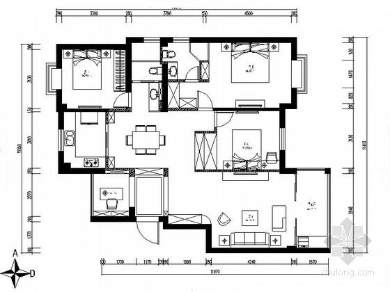 [宁波]现代三居室住宅室内装修图