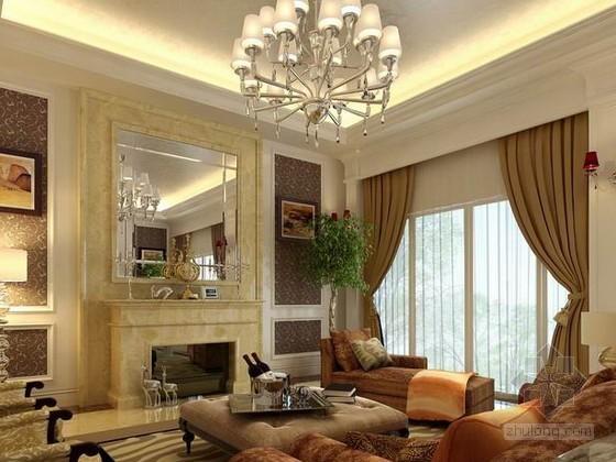 欧式新古典客厅装修资料下载-新古典欧式客厅