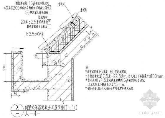 倒置式保温混凝土瓦屋面檐沟(30到60度坡)