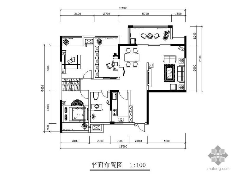 102㎡现代三居室内装修图_1