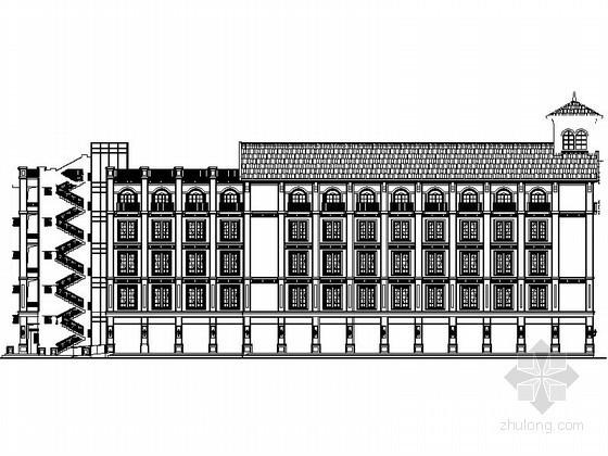 [重庆]某商业广场五层欧式沿街商业建筑扩初图(4号楼)