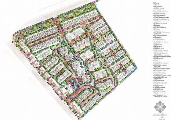 [手绘]2009成都某高档花园小区景观总平面图