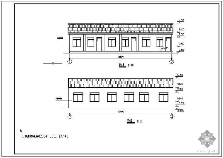 某砖混钢木屋架结构设计图