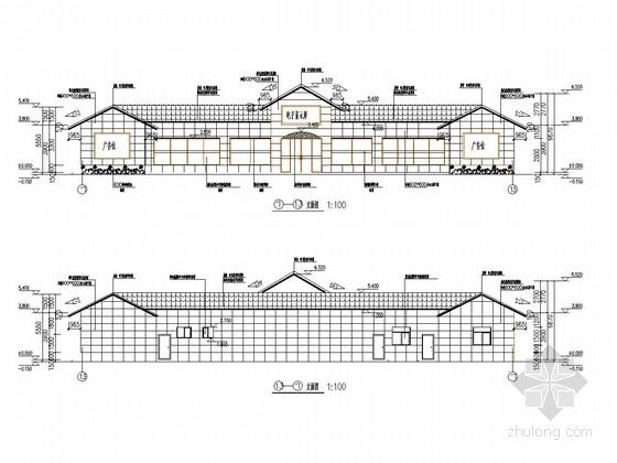 [长沙]一层框架结构加油站站房结构施工图(含建筑图 钢框架罩棚)