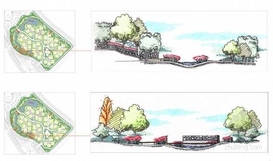 [陕西]高级别墅景观设计概念方案-剖面图