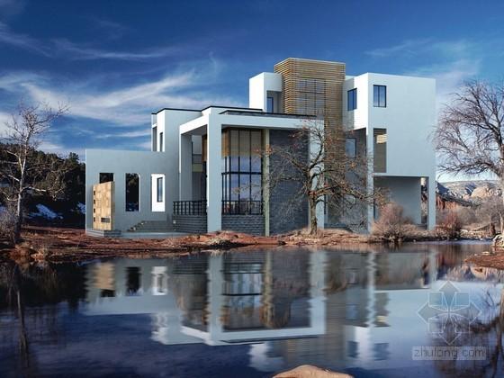 白色别墅建筑效果图PSD素材
