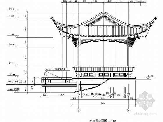 某园林古建水榭设计施工图