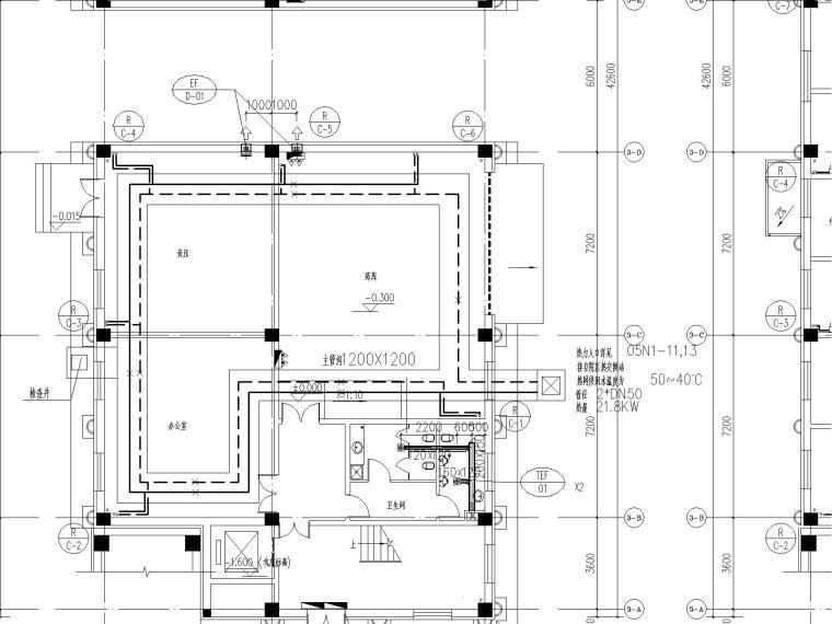 达茂旗蒙医院大楼地暖采暖与通风施工图图纸(含详细水力计算书与负荷计算书)