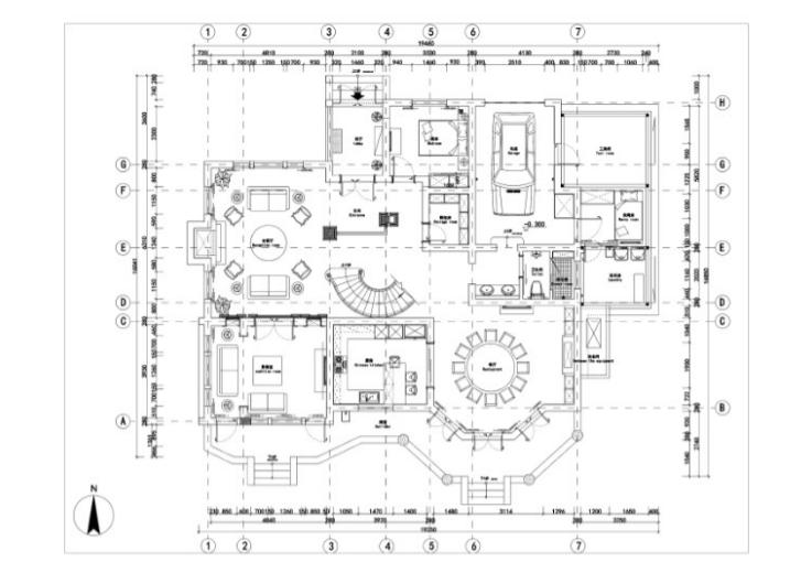 美式-复地爱伦坡别墅室内设计方案图(含效果图,施工图)-平面布置CAD预览图