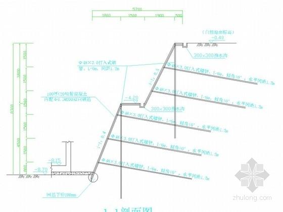 [浙江]9米深基坑土钉墙支护施工图(含设计计算)
